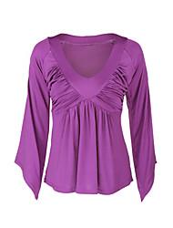 Damen Solide Sexy / Einfach Lässig/Alltäglich T-shirt,V-Ausschnitt Frühling / Herbst Langarm Lila Polyester Dünn
