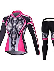Malciklo Cycling Jersey with Tights Women's Long Sleeve Bike Compression Clothing TightsQuick Dry Front Zipper Wearable High