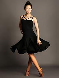 Robes(Noire,Satin / Viscose,Danse latine)Danse latine- pourFemme Au drapée Spectacle Danse latine Taille moyenne