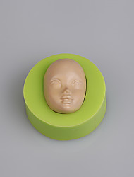 Cupcake decorating sugar paste baby face fondant silicone mold fimo clay mold Color Random