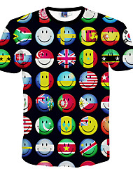Masculino Camiseta Poliéster Estampado Manga Curta Casual / Formal / Esporte-Preto