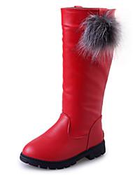 Para Niña-Tacón Plano-Botas a la Moda-Botas-Exterior Informal-PU-Negro Rojo Bermellón