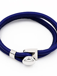 Round Buckle Double Layer Leather Bracelets Christmas Gifts