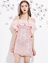 Lace Robe Femme Sortie Mignon,Couleur Pleine A Bretelles Au dessus du genou Manches Courtes Rose / Gris Polyester Eté Taille NormaleNon