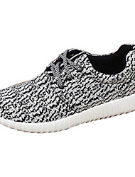 Men's Sneakers Spring Fall Comfort Fabric Outdoor Casual Athletic Flat Heel Lace-up Black Gray Running
