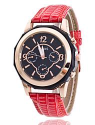 Women/Lady's PU Leather Band Black Round Case Analog Quartz Fashion Watch
