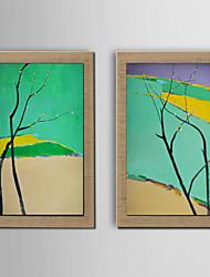 Peint à la main Abstrait / Nature morte / Fantaisie / A fleurs/Botanique Peintures à l'huile,Modern / Traditionnel / Style européenDeux