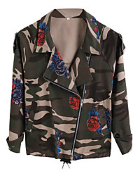 Women's Going out / Casual/Daily Vintage / Street chic Fall Camouflage Jackets,Print Shirt Collar Long Sleeve