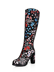 Women's Boots Fall / Winter Fashion Boots Black Leather with Flower Shoes