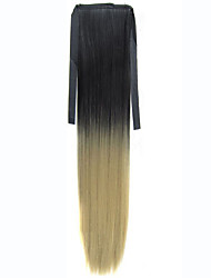 Synthetic Hair Ponytail Ombre Heat Resistance Synthetic Women Long Straight Ribbon Pony Tail Extensions Black-yellow
