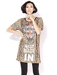 HANBELLE® Damen Rundhalsausschnitt Kurze Ärmel T-Shirt Leopard-419#