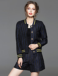 CELINEIA Women's Going out Simple Spring Set PantStriped Stand Long Sleeve Blue Cotton / Polyester Opaque