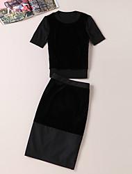 Damen Solide Einfach Ausgehen T-shirt Rock Anzüge,Rundhalsausschnitt Sommer Kurzarm Schwarz Wolle / Polyester / Waschbär-Pelz Mittel