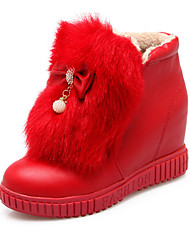 Women's Boots Spring / Fall / Winter Snow Boots / Fashion Boots Leatherette/ Casual Wedge Heel Crystal / BowknotBlack /