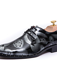 Для мужчин обувь Полиуретан Весна Осень Удобная обувь Туфли на шнуровке Шнуровка Назначение Повседневные Серый Коричневый Синий