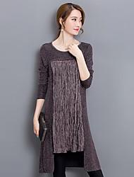 Damen Patchwork Street Schick Ausgehen T-shirt,Rundhalsausschnitt Herbst Langarm Schwarz / Lila Baumwolle / Nylon Mittel
