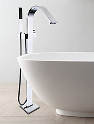 Contemporary Floor Standing Bathtub Shower Faucet / Embedded Box Included / Easy Installation / Single Handle / Chrome
