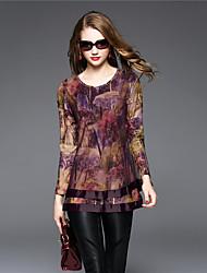BOMOVO® Damen Rundhalsausschnitt Lange Ärmel T-Shirt Lila-B16QB16