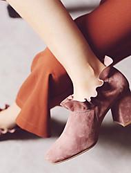 Damen-High Heels-Lässig-Gummi-Niedriger AbsatzSchwarz