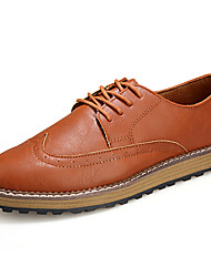 Retro British Style Leather Flats for Man's Casual Lace-up Shoes for Office or in Daily Life