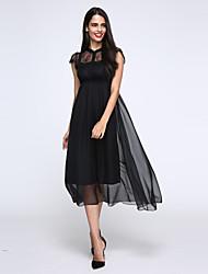De las mujeres Vestido Playa Maxi Escote Chino Poliéster / Raso