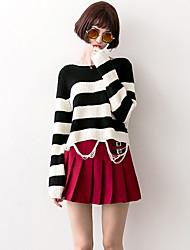 Damen Kurz Pullover-Lässig/Alltäglich Einfach Gestreift Schwarz Rundhalsausschnitt Langarm Acryl Herbst Mittel Mikro-elastisch