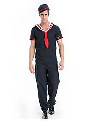 MEN'S Sailor Navy Jumpsuit Captain Catsuit Fancy Costome