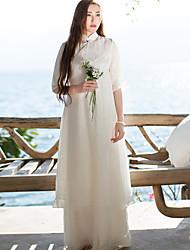 Ample Robe Femme Décontracté / Quotidien simple / Chinoiserie,Broderie Mao Maxi ½ Manches Blanc Autres Printemps Taille NormaleNon