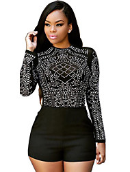 Women's Patchwork Mesh See-through Blouses  JumpsuitsSexy / Simple Round Neck Long Sleeve