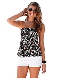 Women's Casual/Daily / Club Sexy / Simple Backless Fashion Slim Spring / Fall T-shirtPrint Strapless Sleeveless Medium