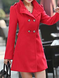Mulheres Casaco Plus Sizes Inverno,Sólido Azul / Vermelho / Verde Lã / Outros Colarinho Chinês-Manga Longa Grossa