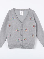 Pull & Cardigan Fille de Imprimé Décontracté / Quotidien Coton Automne Bleu / Gris