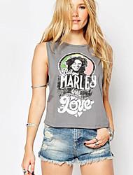 Damen Buchstabe Street Schick Lässig/Alltäglich T-shirt,Rundhalsausschnitt Sommer Ärmellos Grau Polyester Undurchsichtig