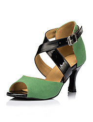 Women's Dance Shoes Suede Suede Latin Heels Stiletto Heel Practice Green