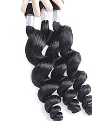 3Pcs/Lot 300g 26-32inch Brazilian Virgin Hair Loose Wave Natural Black Unprocessed Human Hair Weaves