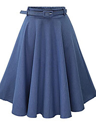Women's Solid Blue SkirtsSimple Knee-length