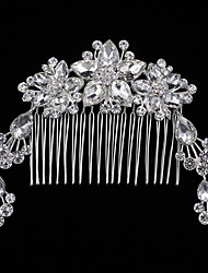 Fashion Water Drop Flower Rhinestone Comb