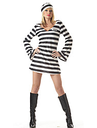 Cosplay Costumes Party Costume Prisoner Career Costumes Festival/Holiday Halloween Costumes Striped Dress More Accessories Headband