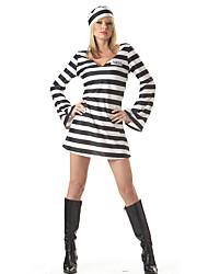 Cosplay Kostüme Party Kostüme Gefangener Karriere Kostüme Fest/Feiertage Halloween Kostüme Schwarz/Weiß Gestreift Kleid Mehre Accessoires