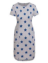 Women's Plus Size round neck short sleeve Star Printing Pocket Dress