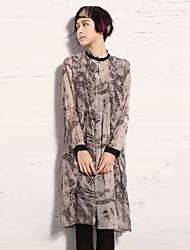 новый, прежде чем женщины собирается из старинных рыхлую dressprint стоять выше колена с длинным рукавом белый