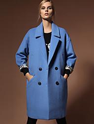 Damen Solide Retro Formal Mantel,Herbst / Winter Steigendes Revers Langarm Blau / Rot Undurchsichtig Wolle / Kunstseide