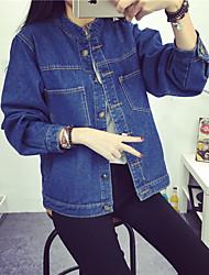 Feminino Jaquetas Jeans Informal Fofo Inverno,Sólido Azul Outros Colarinho de Camisa Manga Longa Média