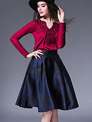 Women's Casual/Daily Sophisticated Fall Set SkirtFloral V Neck Long Sleeve Blue / Red Polyester Opaque