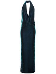 Formal Evening Dress Trumpet / Mermaid Halter Floor-length Velvet with Pleats