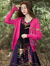 Mujer Regular Cardigan Noche Tejido Oriental,Bordado Rojo Escote en Pico Manga Larga Algodón / Licra Primavera / Otoño Medio Microelástico