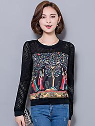 Tee-shirt Aux femmes,Imprimé / Mosaïque Décontracté / Quotidien / Grandes Tailles / Sortie Chic de Rue Printemps / Automne Manches Longues