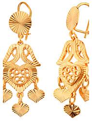 Brincos Compridos Amor Coração Moda Jóias de Luxo Chapeado Dourado Formato de Coração Dourado Jóias ParaCasamento Festa Halloween Diário