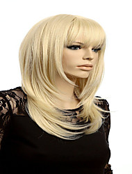 Fashion Blonde Medium Wig Female Wigs Cosplay Long Blonde Wig With Bangs Women Natural Hair Heat