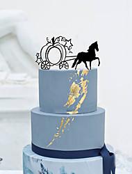Украшения для торта Персонализированные не Экипаж Акрил Свадьба Цветы Черный Классика 1 Подарочная коробка